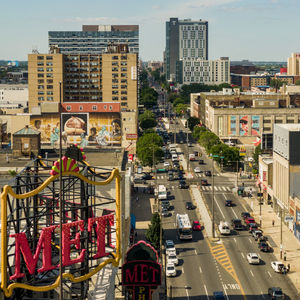 An aerial view of North Broad