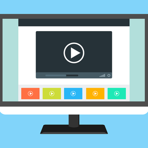 drawing of videos on a computer monitor