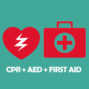A red heart logo and a red AED logo on a Teal background with the text CPR + AED + FIRST AID
