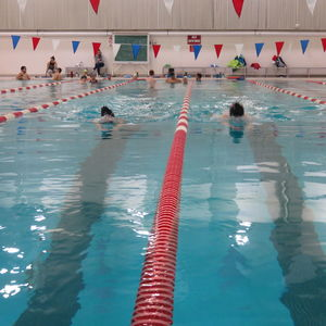 Swimmers completing laps in Pearson and McGonigle Halls Pool 30.
