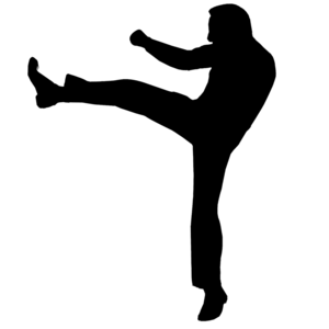 A silhouette of a person kicking.