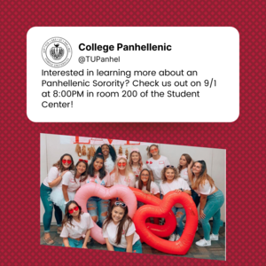 Picture set up like a tweet with text about the event: 9/1 at 8pm in room 200 of student center, with picture of sorority women smiling under text