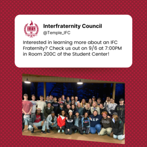 Picture se up as tweet with text about event: 9/6/21 at 7pm in HGSC 200C. A picture of a groups of greek life students smiling appear under the picture