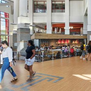Breezeway of Student Center with students walking