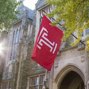 Temple flag on campus