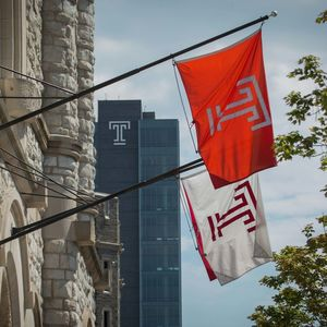 Temple flags hanging off building