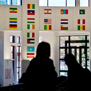International flags in student center