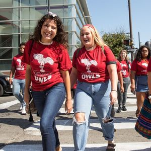 Temple students walking on campus