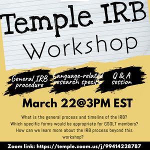 Temple IRB Workshop flyer