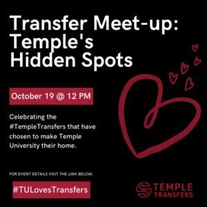 There are so many cool spots across campus that many students don't know about.  Meet-up with an Owl Team Leader at the Bell Tower who will take you on a tour of some of Temple's best kept secret spots. This is a great way to continue to get more comfortable with campus and make some new connections.