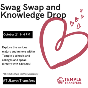 We want to be able to add to both your Temple swag collection and knowledge of resources. Attendees are encouraged to bring apparel from their previous institution to swap for a Temple T-shirt. Collected items will be donated locally.   A variety of campus resources including Career Services, Disability Resources and Services (DRS), IDEAL, Student Financial Services, Student Success Center, and the Wellness Resource Center will be present.  They'll tell you all about the services they offer and how to take