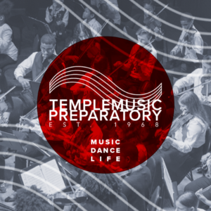 Temple Music Preparatory logo over semi-transparent black  and white image of students playing instruments