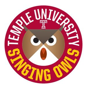 """cartoon owl face inside a red circle with """"temple university singing owls"""" logo"""
