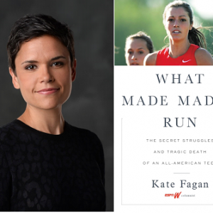Author Kate Fagan with book What made maddy run