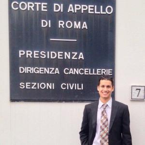 Program alumnus Keegan Boyle at his internship in Rome